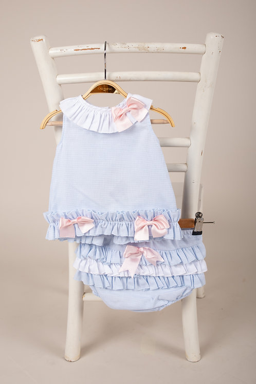 Caramelo Baby Girls Two PIece Jam Set in Sky Blue