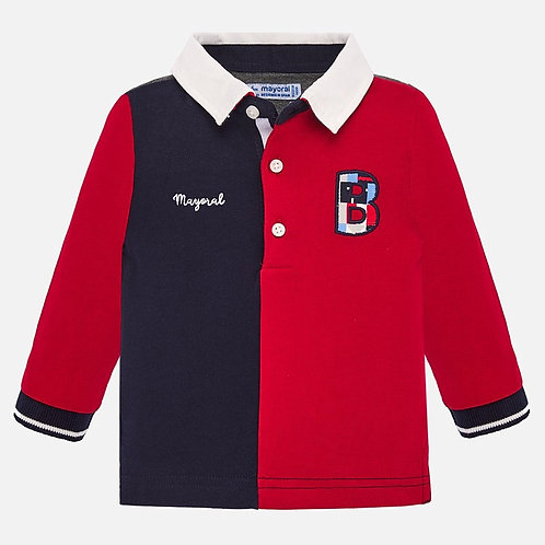 Mayoral Baby Boys Long Sleeve Polo Shirt in Red and Navy