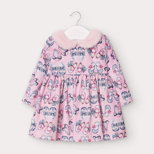 Mayoral Baby Girls Pink Patterned Dress with Faux Fur Collar