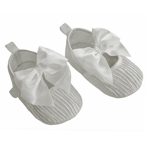 Soft Touch Baby Girls White Fabric Pram Shoes
