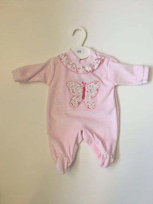 Baby Girls Pink Velour Babygrow