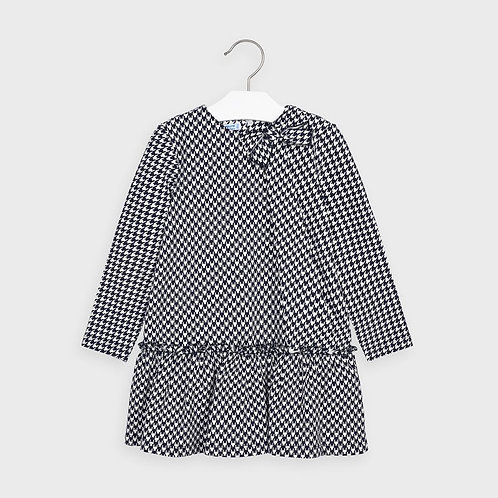 Mayoral Girls Navy Houndstooth Pattern Dress