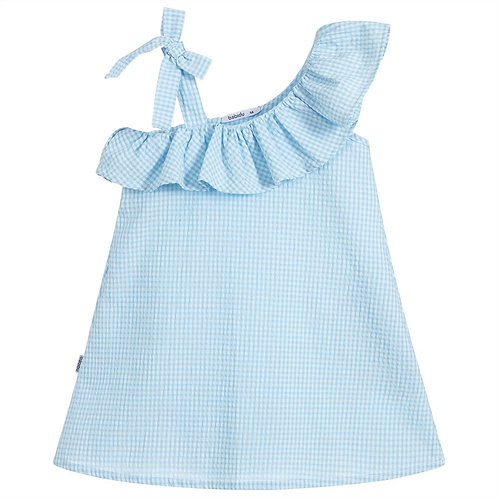Babidu One Sleeve Ribbon Tie Blue Gingham Dress