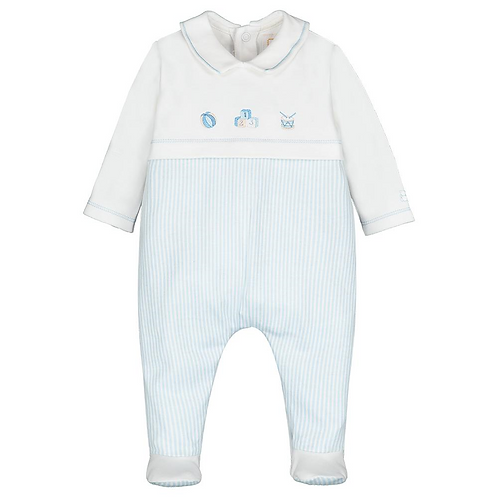 Emile et Rose Baby Boys Pale Blue/White Babygrow