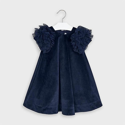 Mayoral Girls Navy Blue Velvet Dress