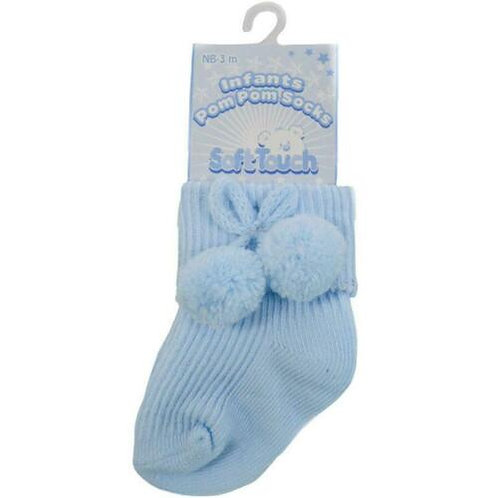 Soft Touch Pale Blue Pom Pom Ankle Socks