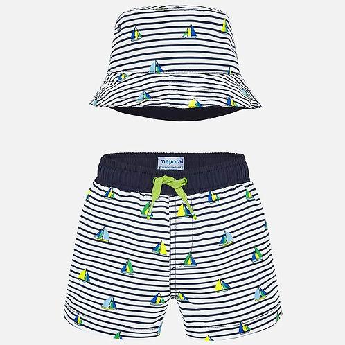 Mayoral Boys Swim Shorts & Hat Set