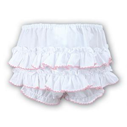 Sarah Louise Baby Girl's White/Pink Frilly Nappy Cover Knickers