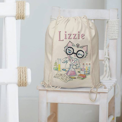 Nina Scientist Personalised Drawstring Bag