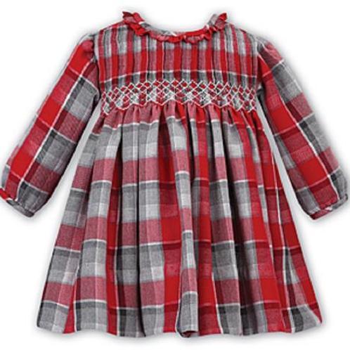 Sarah Louise Red/Grey Check Smock Dress