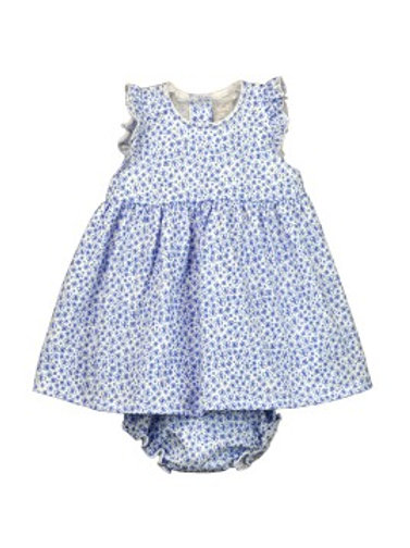 Rapife Baby Girls Blue Flower Print Dress with Knickers