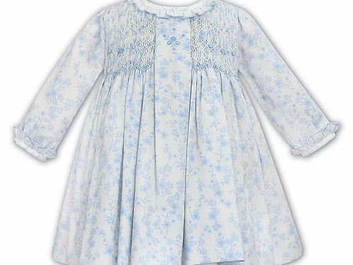 Sarah Louise Baby Girls Flower Pattern Smock Dress
