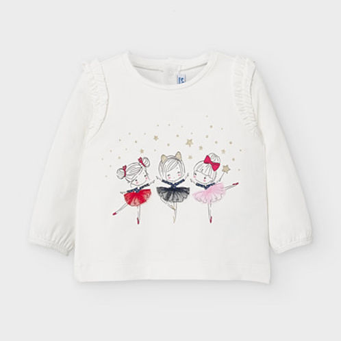 Mayoral Baby Girls Long Sleeve Top with Ballerina Design