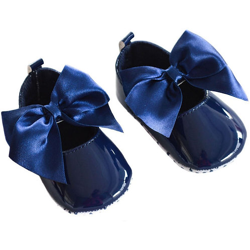 Soft Touch Baby Girls Navy Blue Patent Pram Shoes
