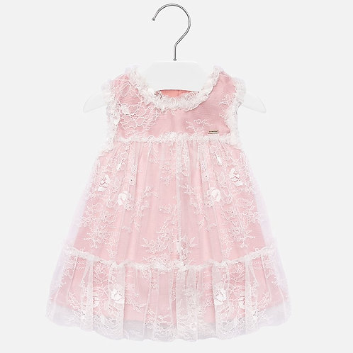 Mayoral Pink Tulle & Lace Dress