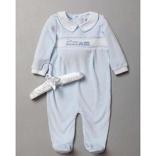 Baby Boys Pale Blue Velour Train Sleepsuit