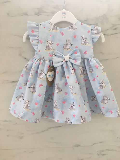 Kinder Girls Rabbit Print Dress with Bow Detailing on the Front