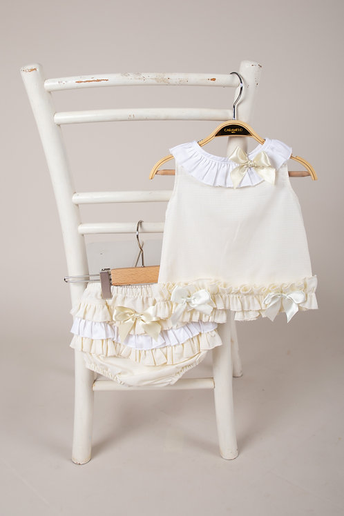 Caramelo Baby Girls Two Piece Jam Set in Lemon & White
