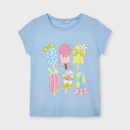 Mayoral Girls Pale Blue Short Sleeve T Shirt