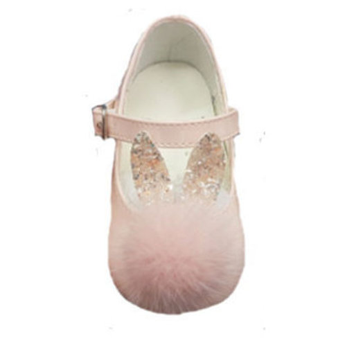Pale Pink Patent Shoes with Fluffy Pom and Glittery Bunny Ears