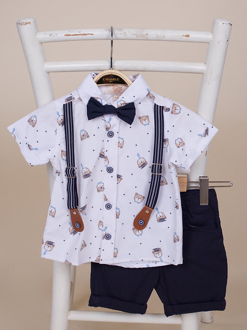 Caramelo Baby Boys Three Piece Outfit of Shirt, Shorts & Bow Tie
