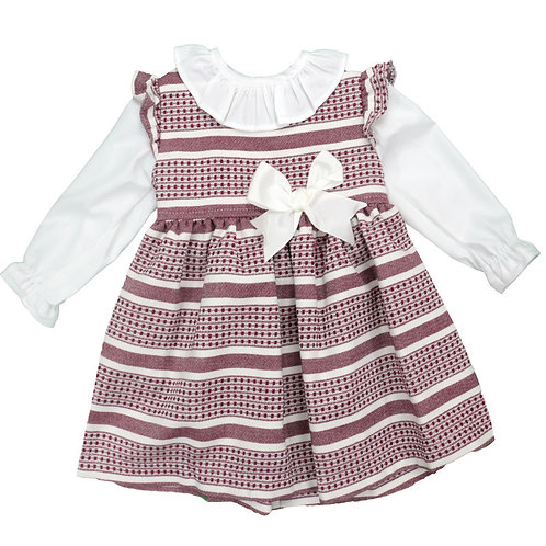 Baby Girls Dress with Frill Neck & Bow