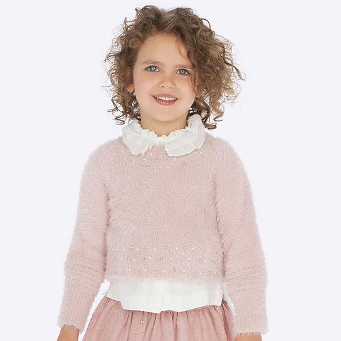 Mayoral Girls Pale Pink Fluffy Jumper