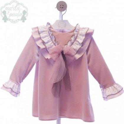 Marta Y Paula Long Sleeve Dusky Pink Velvet Dress