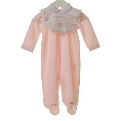 Blues Baby - Baby Girls Pale Pink Velour Romper & Bib