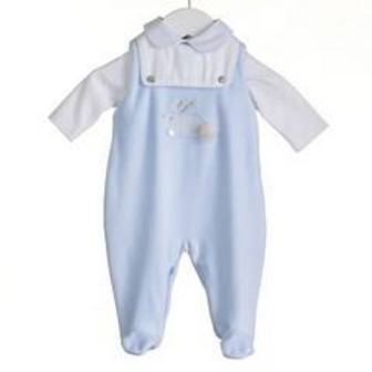 Blues Baby - Baby Boys Pale Blue Velour Romper with Bodysuit