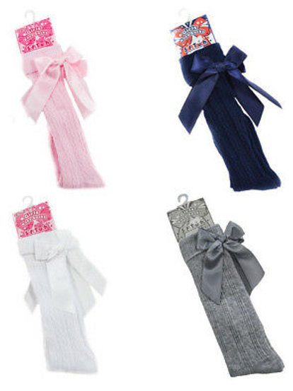 Soft Touch Girls Knee High Socks With Satin Bow