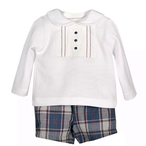 Calamaro Baby Boys Collar Top and Shorts Set