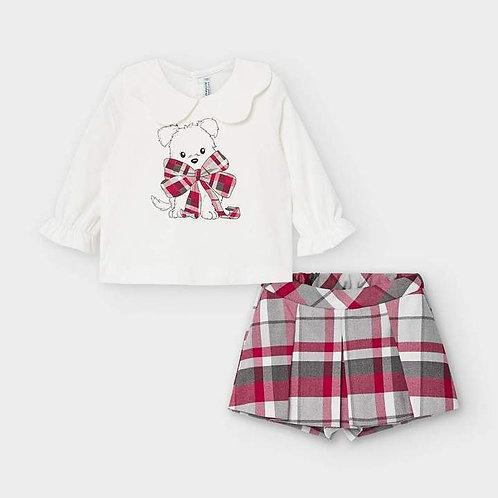 Mayoral Girls Two Piece Tartan Shorts Set