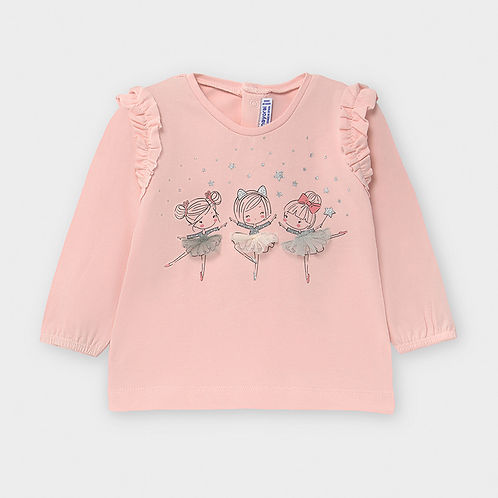 Mayoral Girls Long Sleeve Top with Ballerina Motif