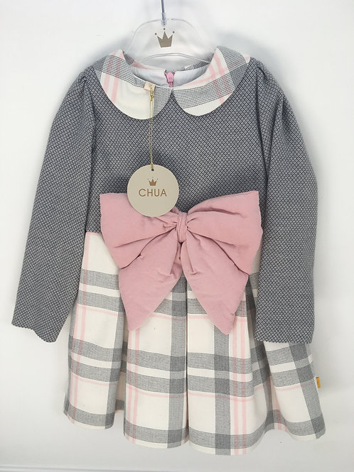 Chua Girls Long Sleeve Dress with Big Pink Bow