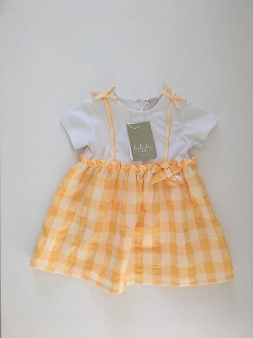 LaLaLu Baby Girls Lemon & White Summer Dress