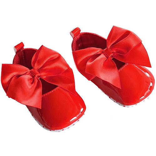 Soft Touch Baby Girls Red Patent Pram Shoes