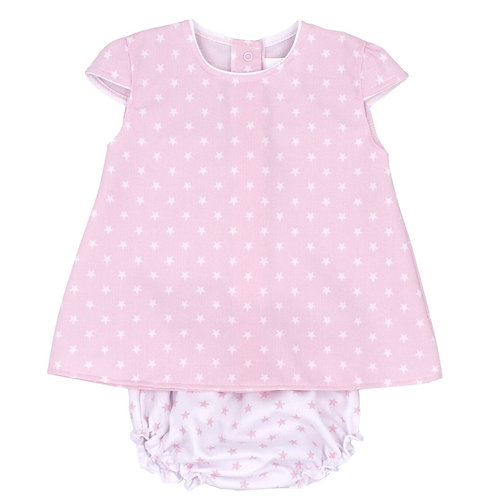Rapife Pale Pink Star Pattern Dress with Knickers