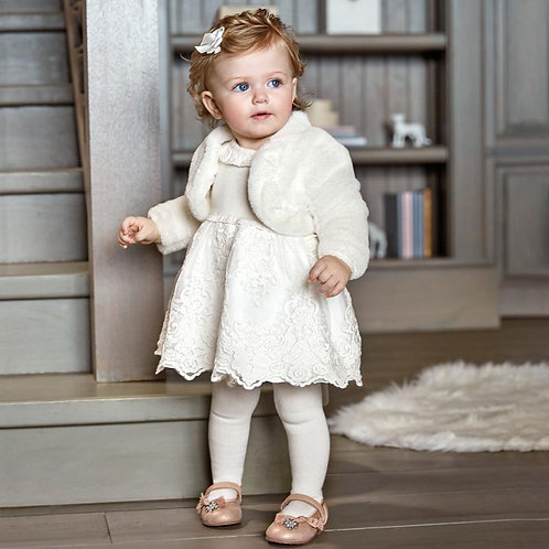 Mayoral Baby Girls Cream Tulle Special Occasion Dress