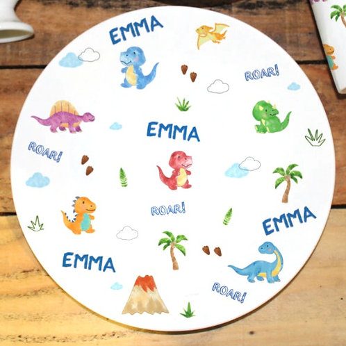 Dinosaur Personalised Cup and Plate Set