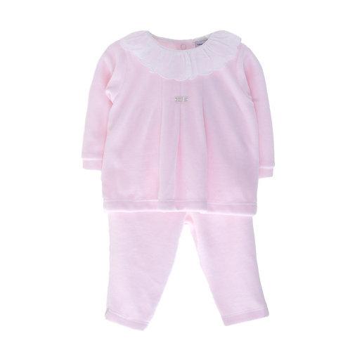 Babidu Baby Girls Pink Velour Two Piece Set