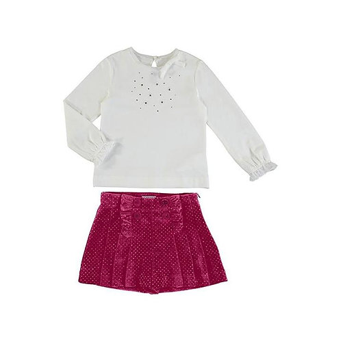 Mayoral Girls  Red Velvet Two Piece Shorts & Top Set