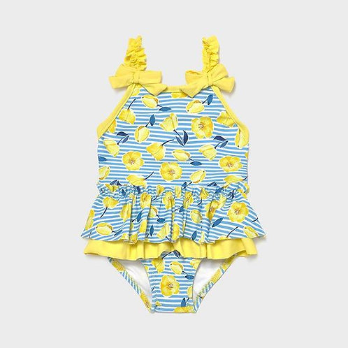 Mayoral Girls Swimsuit with Yellow Flower Print