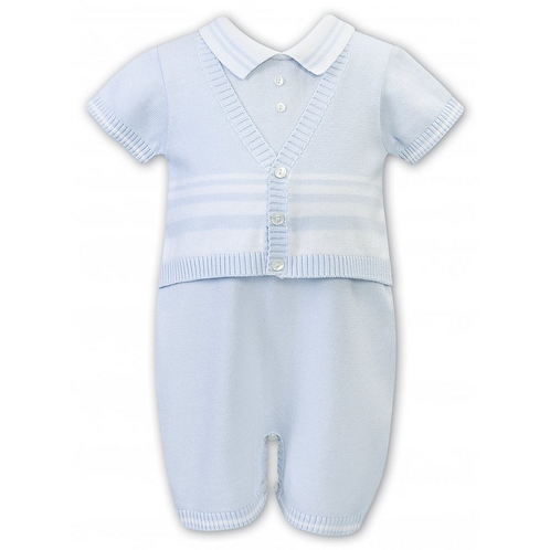 Sarah Louise Baby Boys Knitted Romper with Faux Cardigan