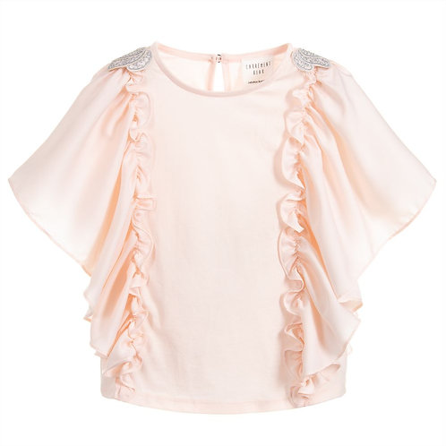 Carrément Beau Pink and Silver Ruffle Top