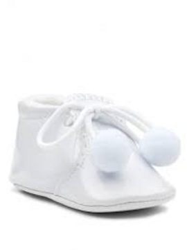 White Patent Shoes with Laces and Poms