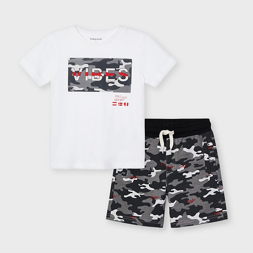 Mayoral Boys Two Piece Camouflage Top & Shorts Set