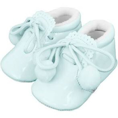 Pale Blue Patent Shoes with Laces and Poms