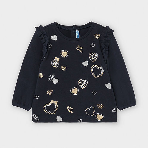 Mayoral Baby Girls Long Sleeve Top with Heart Design