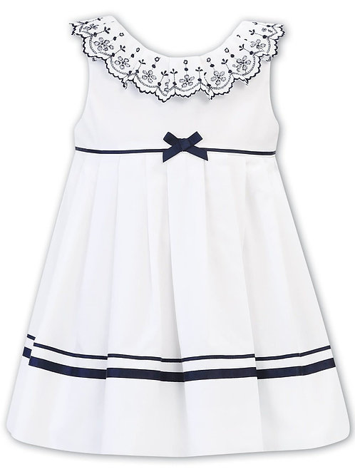 Sarah Louise White & Navy Broderie Anglaise Ruffle Trim Dress